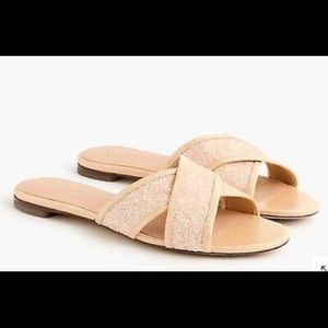 J.Crew Cora Glitter Criss Cross Sandals slides